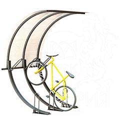 Велопарковка 45 градусов с навесом, 3 места с покрытием из монолитного поликарбоната