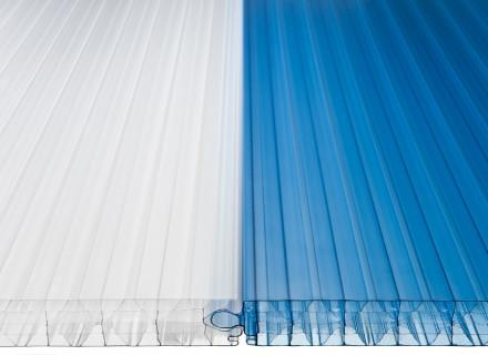 Замковая фасадная поликарбонатная панель LEXAN (Австрия) толщиной 40 мм, синий